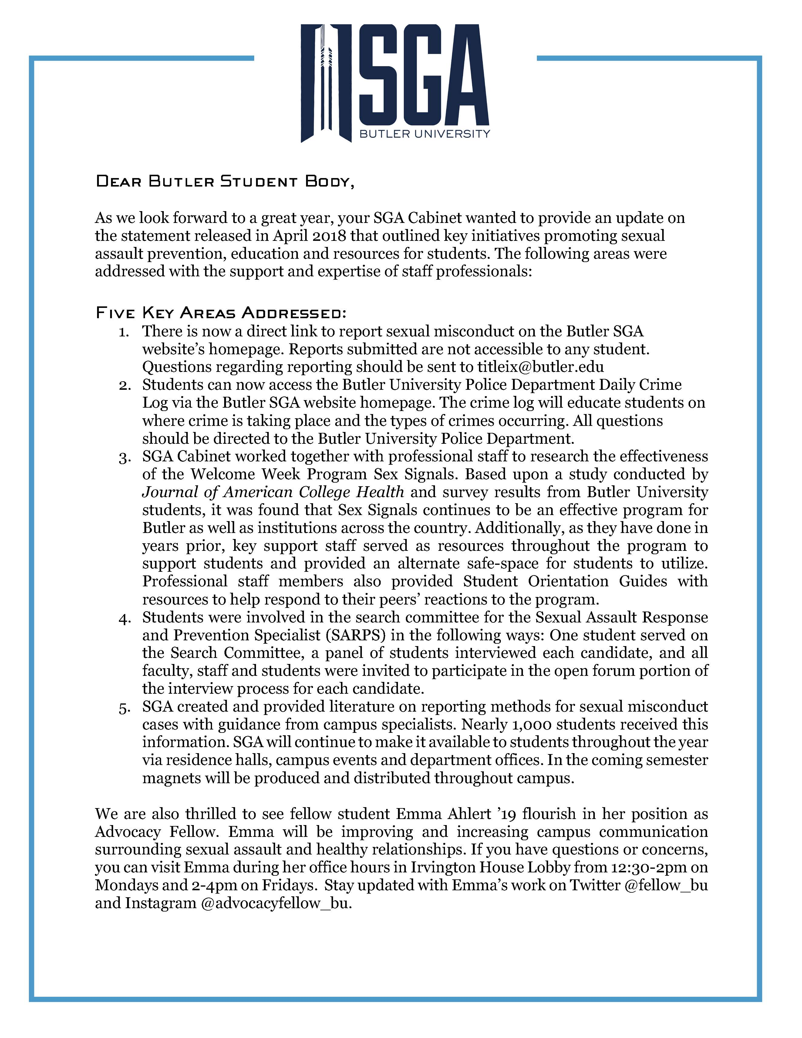 Commitment to Addressing Sexual Misconduct - Update: Page 1